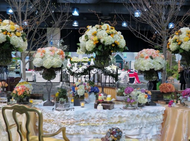 "One of the many eye-popping floral displays, this one depicting the ""Mad Hatter's Tea Party from Alice in Wonderland."