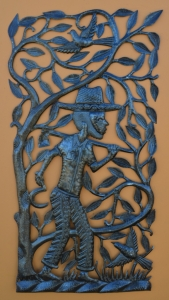 Taking care of the coffee crop. Haitian Farmer One-of-a-Kind Sculpture ID# HT1516