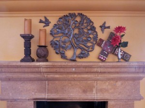 Make a grouping that combines color, texture, and depth.  Hang a few birds as though they are about to perch in the tree.