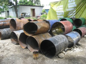 These old discarded steel drums are soon to become beautiful folk art sculptures.  Recycling at its finest!