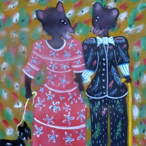 """Fox Couple with Pet by Gerard Fortune"