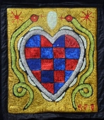 Brilliant sequins of red and blue form the veve of Erzulie Freda, the spirit of love.