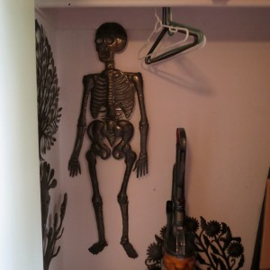 I wasn't kidding about the skeleton in my closet! Sculpture by Jean Claude Soulouque