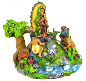 Ceramic recreation of the appearance of Guadalupe by the Aguilar Family of Oaxaca, Mexico