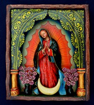 Peruvian retablo featuring a very traditonal Our Lady of Guadalupe