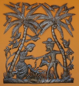 Haitian metal Nativity Scene