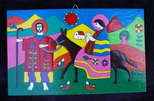 Folk art painting of the Holy Family and their Flight into Egypt