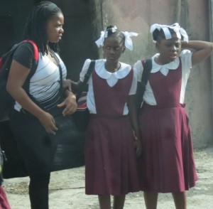 Haitian schoolgirls on their way home after classes.