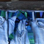Blue hand-woven belt