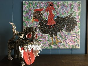 Ocumicho dragon and folk art Rooster painting